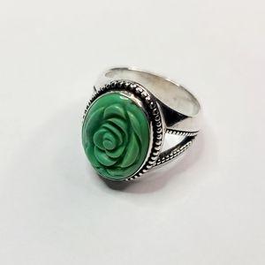 Vintage Sterling Silver Carved Rose Ring
